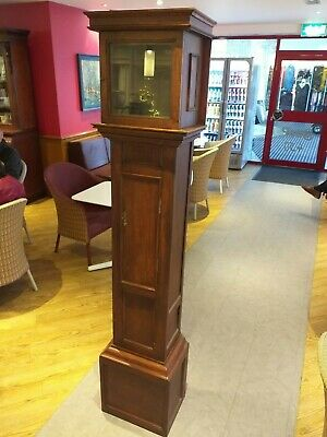 ANTIQUE longcase clock grandfather SPARE EMPTY wooden CASE oak , no movement