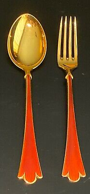 Norway Sterling Silver 925S Red Enamel Cake / Desert Spoon & Fork -Lilje Pattern