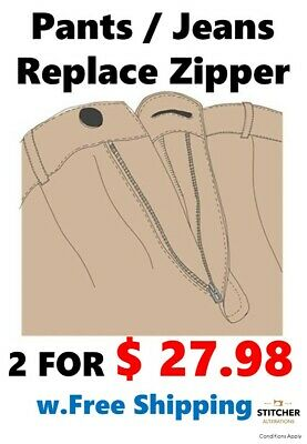 Change zipper, zip, Pants Jeans Trouser $27.98 for 2 pairs w.Free shipping