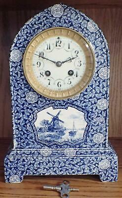 Antique French A.d. Mougin Delft Blue Porcelain Shelf Clock For Restoration