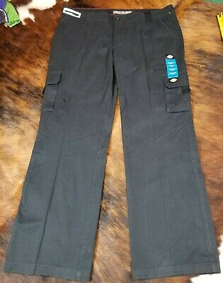 DICKIES Size 16  Black RELAXED FIT Straight Leg Cargo WORK Pants Women's EUC