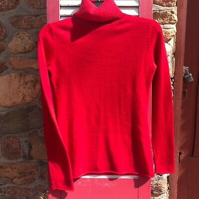 Pure Amici Candy Apple Red 100% Cashmere Turtleneck Size XS