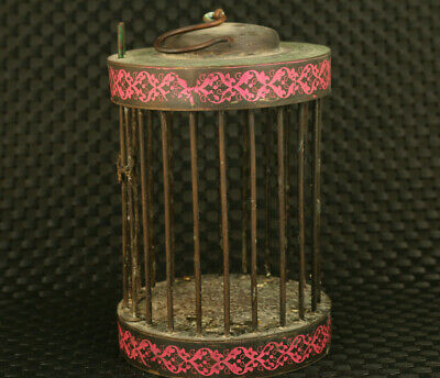 Rare Chinese collectible unique old bronze bird cage noble table home ornament