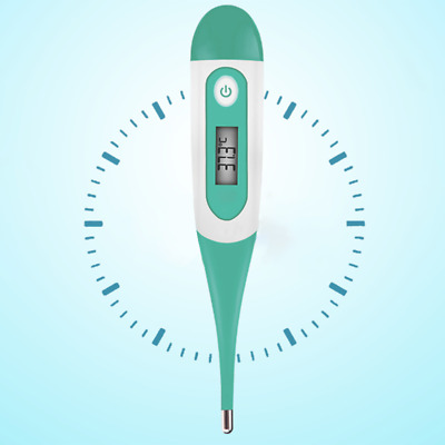 UK Digital LCD Flexible Tip Thermometer Baby Oral Mouth Rectal Armpit Waterproof