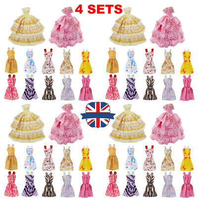 48Pcs Gown Dress Clothes Set For Barbie Dolls Wedding Party Prom Causal Decor.-
