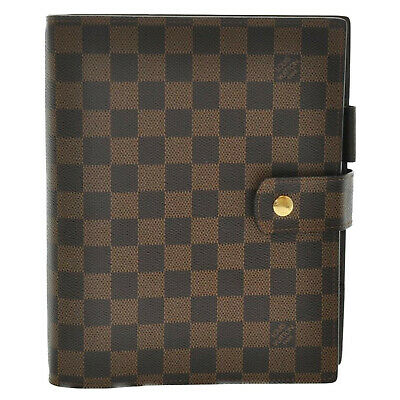 LOUIS VUITTON Damier Ebene Agenda GM Day Planner Cover R20009 LV Auth sa1758