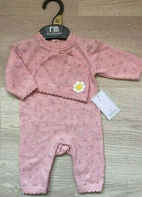 BNWT Mothercare Baby Girls Pink Knitted Romper Babygrow And Hat Set Outfit New