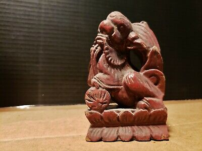 Small Antique Foo Lion Dog Asian Wood Carving From a Temple