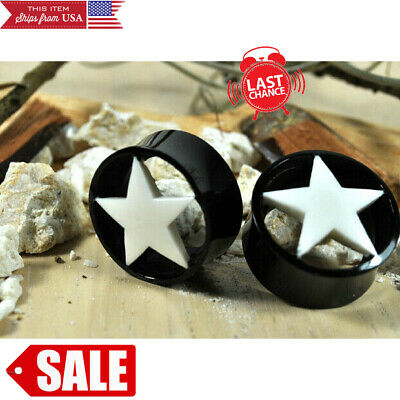 PAIR Double Flare Horn Tunnels w//Bone Ear Plugs Gauges 4g,2g,0g,00g,1//2,5//8,3//4/""