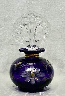 Fenton, Perfume with Stopper, Royal Purple, Limited Edition, Hand Decorated.
