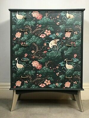 Art Deco designer Hand painted Vintage Retro Chest Of Drawers Tallboy Decoupaged