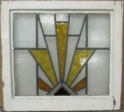 "OLD ENGLISH LEADED STAINED GLASS WINDOW Gorgeous Geometric Burst 20.5"" x 19"""