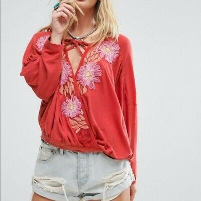 NWT $128 Free People Gotta Love It Embroidered Top Red Orange S M Authentic