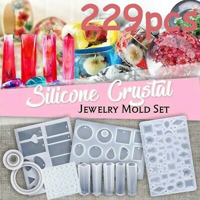 Handmade Crystal Glue Mould Mold Set Resin Jewelry Mold Kit 229Pcs Free Shipping