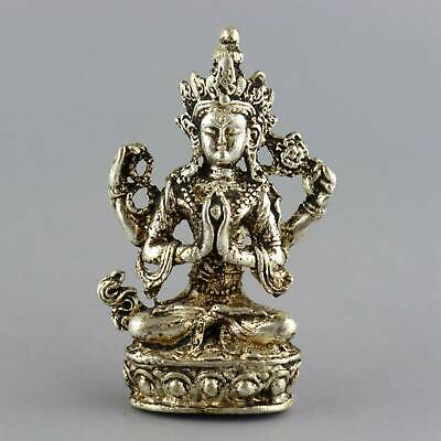 Collect China Old Miao Silver Hand-Carved Auspicious Exorcism Buddhiam Statue