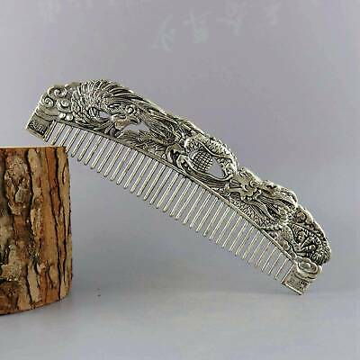 Collect Old Tibet Silver Hand-Carved Myth Dragon & Phenix Moral Bring Lucky Comb
