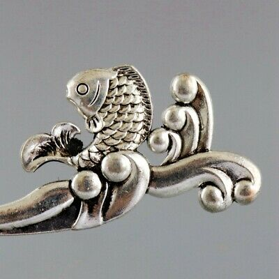 Collect China Old Miao Silver Hand-Carved Waves & Fish Exquisite Decor Hairpin