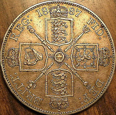1887 Uk Great Britain Silver Double Florin Coin