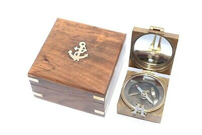 Solid Brass Heavy Brunton Nautical Antique Marine Compass in Classic Wooden Box