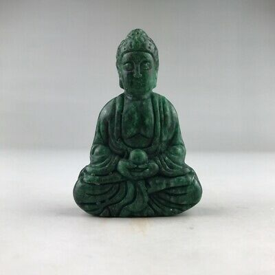 Chinese Natural Jade Pure Hand Carved Buddha Statue
