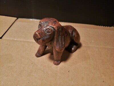 Antique Asian small DOG Wood Carving From Temple