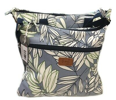 Blue Crossover Bag Satchel Garden Leaf Fern Leaves Gift Gifts Bags Womens Peony