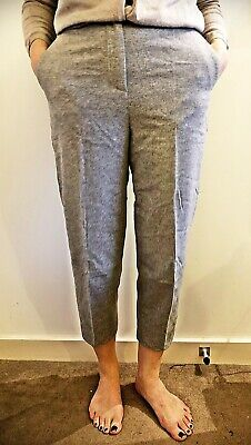 COS Wool Grey Pleated Culottes Straight Wide Leg Trousers XS 6 Blogger Business