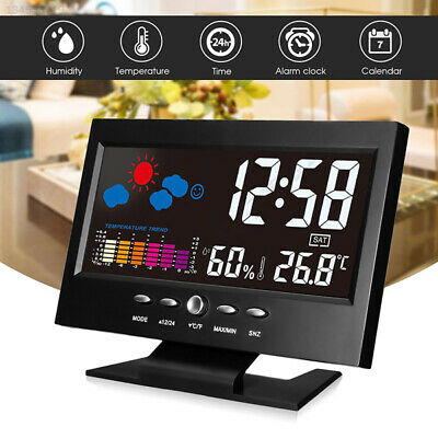 B97B 8082T Weather Station Alarm Clock Date Week Durable