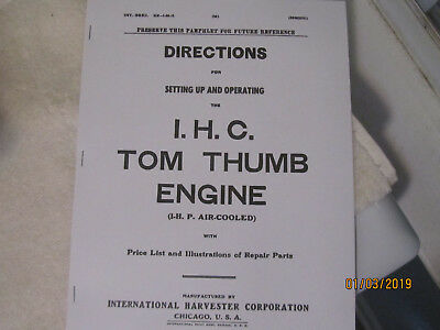 International Harvester Tom Thumb 1HP Gas Engine  Instructions & Parts  Manual
