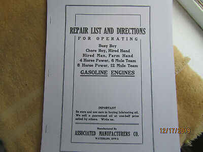 Associated  Gas Engine  Instructions & Parts  Manual Includes 8 Sizes of Engines