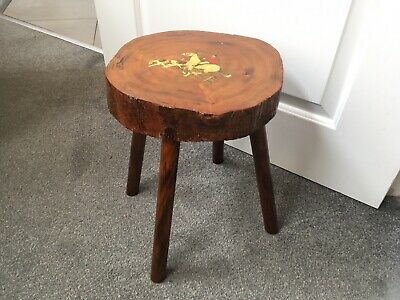Vtg NAIVE FOX HUNTING PAINTING ON BESPOKE TIMBER MILKING STOOL side table