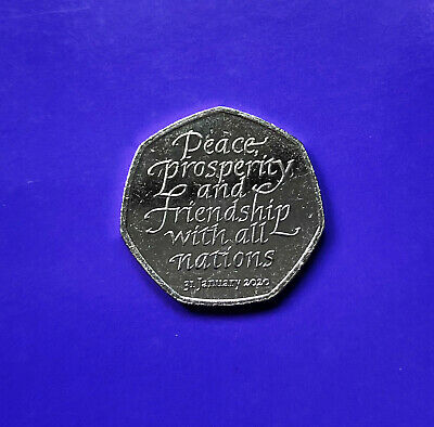Rare *BREXIT* 50p COIN 2020 {Fifty Pence/Peace Prosperity & Friendship/31-01-20}