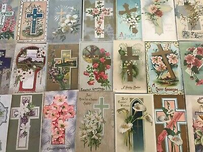 "LOT of 25 BEAUTIFUL Antique~"" EASTER CROSSES"" with Flowers CROSS POSTCARDS-s128"
