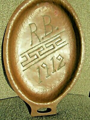 Antique 1912 Mission / Arts & Crafts Hand Hammered Copper Serving Tray R B 1912