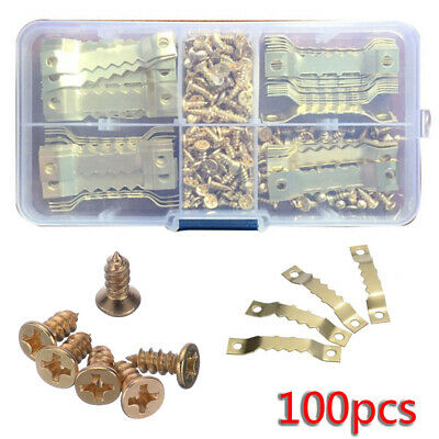 100pcs Set Picture Photo Frame Hooks Hardware Saw Tooth Hangers W/ 200x Screws