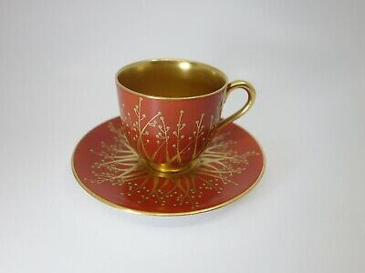 Seltene Moccatasse Paintet  Mocha Cup and Saucer  Royal Worcester Art Deco