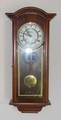 Vintage Waltham 31 Day Pendulum Chime Wall Hanging Clock Dark Wood With Key