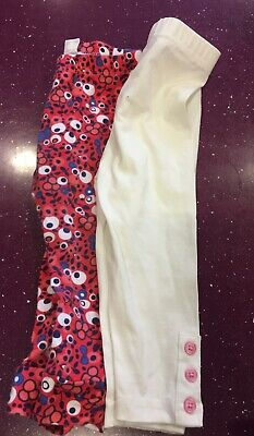 2 Pairs of Girls Baby Leggings 1 Red Floral 1 Cream - 9-12 Months