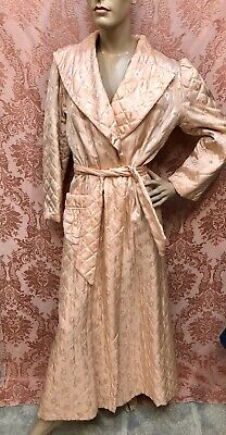VTG 1940s DEADSTOCK Peach RAYON Quilted BROCADE PRINCESS Dressing Gown ROBE Exc