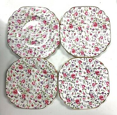 "Rare Rosina Fine Bone China Set Of 4 Dessert Salad Plate 6"" England Floral"