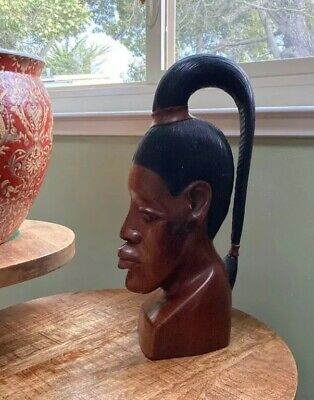Antique Woman Bust by W. Dilbert Jamaica 1982 Hand Carved Vintage Signed