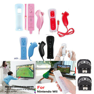 Built in Motion Plus Remote and Nunchuck Controller WITH CASE For NINTENDO WII