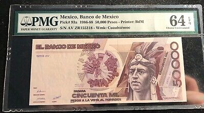 Mexico 1986 - 1988 50,000 Pesos Pick-93a PMG MS 64 EPQ