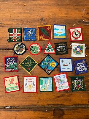 20 Different Old Boy Scout Group Cloth Patches Badges All Queensland & Brisbane