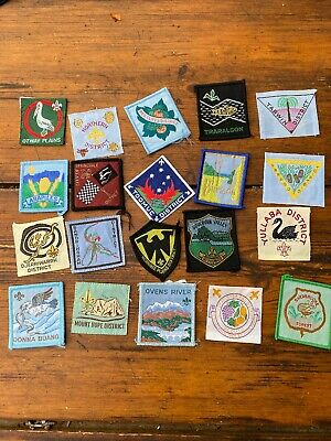 20 Different Old Boy Scout Group Cloth Patches Badges All Victoria & Melbourne