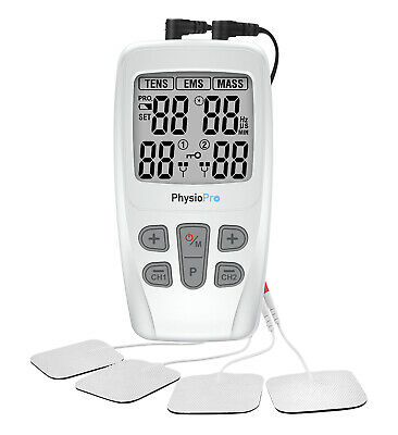 Dual tens machine EMS 3 in 1 massager from physio  pain relief plus 4 bonus pads