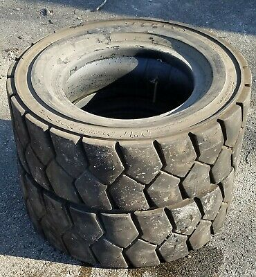250x15x16 Ply Titan Premium Wide Trac Pneumatic Forklift Tires w/ Tubes & Liners