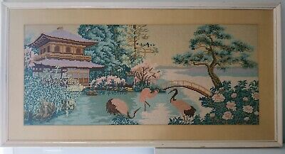 Vintage Japanese Embroidery/Cross Stitch Handmade Framed Picture