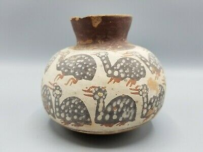 Ancient Pre-Columbian Polychrome Pottery Painted Avian Vessel Nazca Or Mayan?