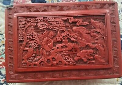 2 pc Vintage Chinese Cinnabar Lacquer trinket box master in garden carved red